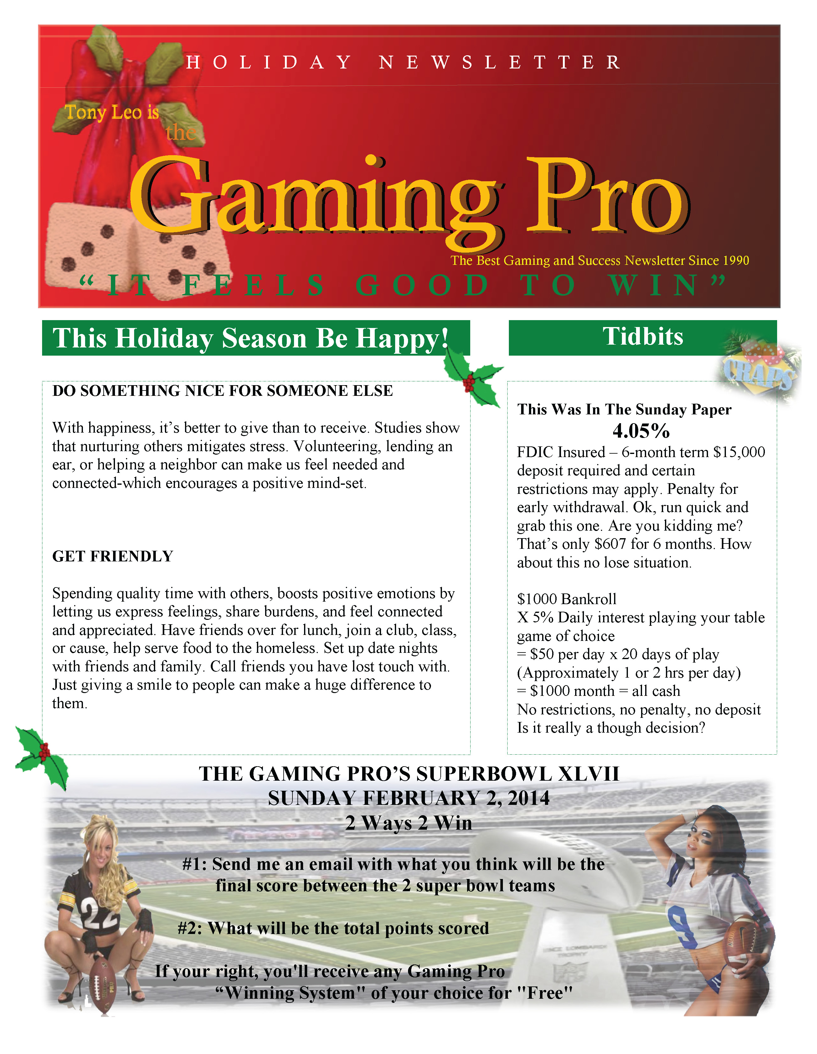 Holiday Newsletter The Gaming Pro – Holiday Newsletter